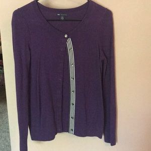 Gap Purple Button Up Sweater Made with Cashmere